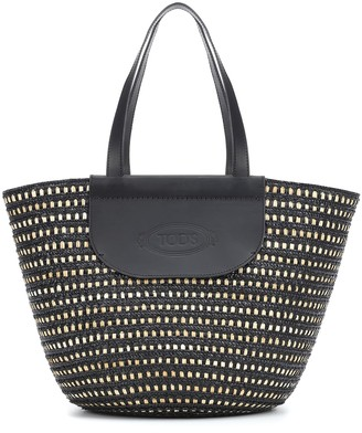 Tod's Leather-trimmed raffia shopper