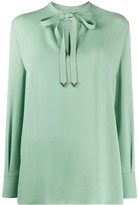 Valentino tie-neck long-sleeve blouse