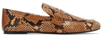 Joseph Python-embossed Collapsible-heel Leather Loafers - Black Tan