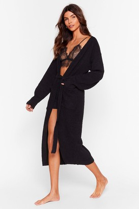 Nasty Gal Womens Knit's Worth a Try Chenille Belted Cardigan - Black