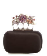 Alexander McQueen Flower satin knuckle clutch