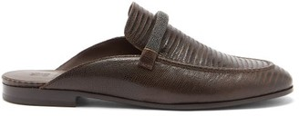 Brunello Cucinelli Beaded-bar Lizard-effect Leather Backless Loafers - Dark Brown