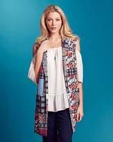 Fashion World Folk Print Sleeveless Crepe Jacket