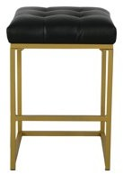 "HomePop Hayden Open Back Metal 24"" Counter Stool - Tufted Black Faux Leather"