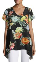 Johnny Was Ziara Printed Handkerchief-Hem Tunic, Black