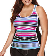 ZeroXposur Echo Sport Striped Tankini Swimsuit Top - Plus