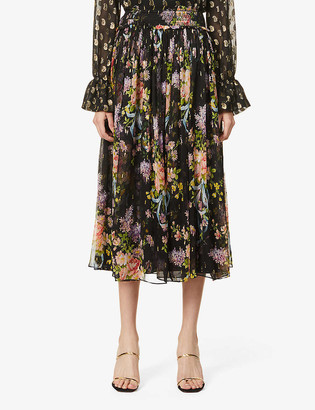 Needle And Thread Floral Diamond Elsa high-waist chiffon midi skirt