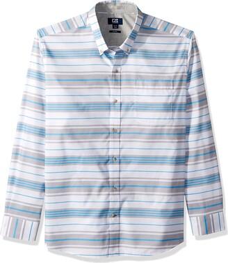Cutter & Buck Men's Non-Iron Parker Wide Stripe Button Down Collared Shirt
