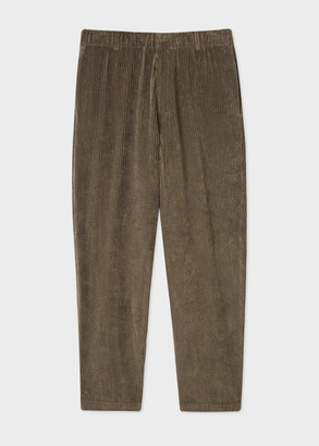 Men's Brown Corduroy Wide-Leg Trousers With Elasticated Waist