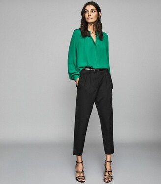 Reiss Gwen - Gather Detailed Blouse in Green
