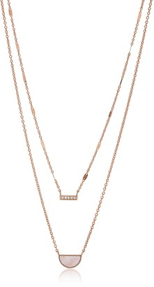 Fossil Duo Half Moon Rose Tone Necklace