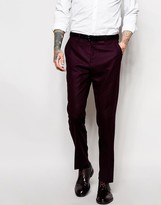 Asos Slim Wool Rich Suit Trouser In Purple