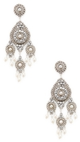 Miguel Ases Pearl Chandelier Statement Earrings