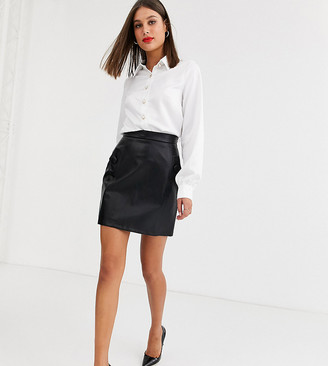 Fashion Union Tall vinyl mini skirt with button detail in black