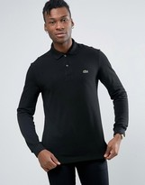 Lacoste Polo Shirt In Long Sleeve Black Regular Fit