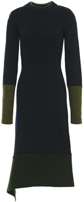 Victoria Beckham Draped Two-tone Wool-blend Dress