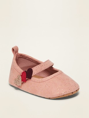 Old Navy Faux-Suede Heart-Strap Ballet Flats for Baby