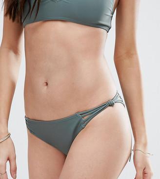 South Beach Khaki Strappy Bikini Bottom-Green