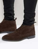 Asos Brogue Chukka Boots in Brown Suede
