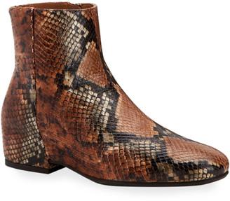 Aquatalia Ulyssaa Snake-Print Leather Booties