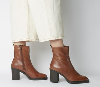 Office Away Casual Heeled Boots Tan Leather