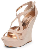 Dorothy Perkins Timeless Nude suedette curved wedges