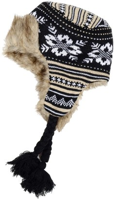 RJM Accessories Ladies Knitted Patterned Trapper Hat with Warm Faux Fur Lining - Black & Brown