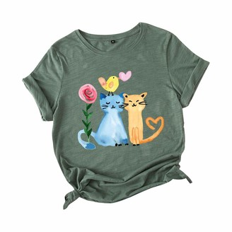 Beetlenew Womens Blouses Women's Cat Print Tops Plus Size Summer Casual Personality T-Shirt Kitten Kitty Pattern Short Sleeve O-Neck Graphic Tee Shirts Tunic Blouse Going Out Clothing for Gym Sport Running Army Green