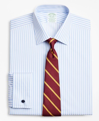 Brooks Brothers Stretch Milano Slim-Fit Dress Shirt, Non-Iron Twill Ainsley Collar French Cuff Bold Stripe