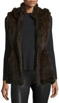 Belle Fare Hooded Zip-Front Mink Vest, Brown