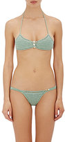 She Made Me Women's Savarna Triangle Bikini Top-GREEN