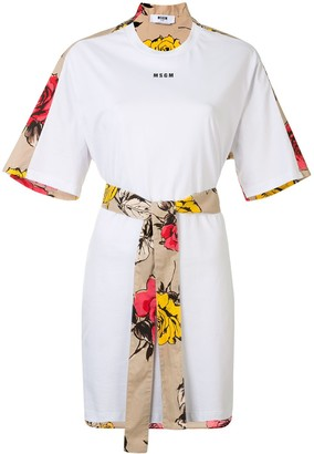 MSGM rose print T-shirt dress