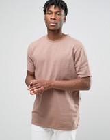 Asos Overhead Shirt In Slub Texture In Dusty Pink