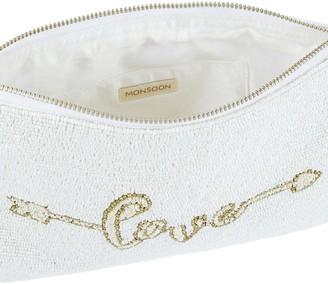 Monsoon Lulu Love Embellished Bridal Zip Top Clutch - Ivory