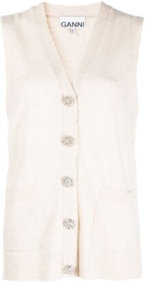 Ganni Button-Up Sleeveless Cardigan