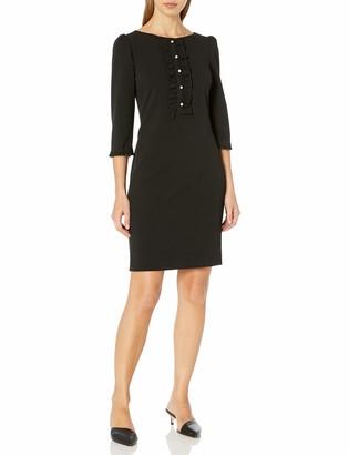 Karl Lagerfeld Paris Women's Long Sleeve Sheath Dress with Ruffle Front