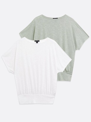 New Look 2 Pack Deep Hem Batwing T-shirts - White and Grey