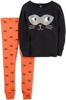Carter's Toddler Girl Halloween Cat Top & Bottoms Pajama Set