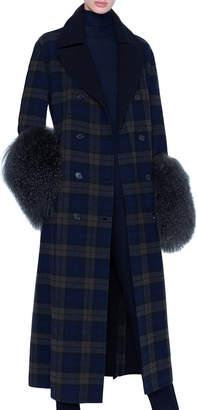 Akris Plaid Quilted Wool Lamb-Cuff Coat