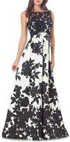 Carmen Marc Valvo Floral Print Gown