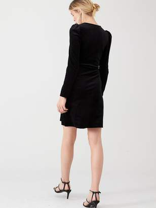 Very Textured Velvet Wrap Dress- Black