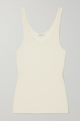 Saint Laurent Ribbed Modal And Cotton-blend Jersey Tank - Ivory