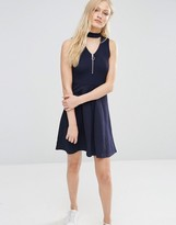 Daisy Street Zip Front Skater Dress