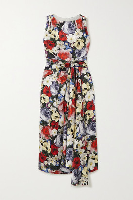 Erdem Rozaria Gathered Floral-print Silk-satin Midi Dress - Black