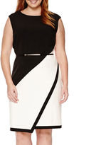 Studio 1 Sleeveless Colorblock Envelope-Hem Dress - Plus