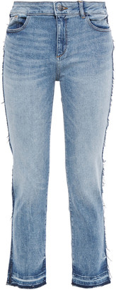 DL1961 Cropped Distressed Mid-rise Straight-leg Jeans