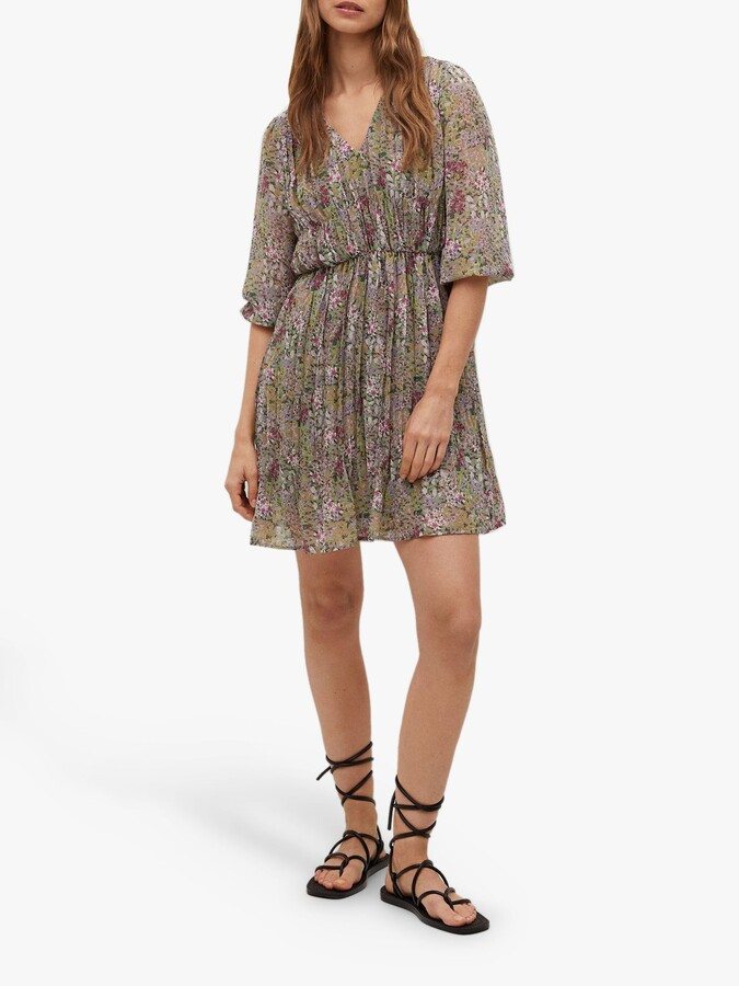 Thumbnail for your product : MANGO Floral Print Pleated Mini Dress