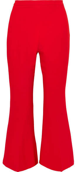 Antonio Berardi Cropped Stretch-cady Flared Pants - Crimson