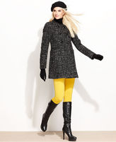 BCBGMAXAZRIA BCBGeneration Coat, Double-Breasted Collarless Tweed