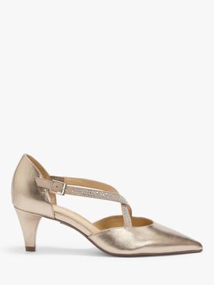 John Lewis & Partners Bijou Embellished Cross Strap Open Court Shoes, Gold